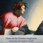 """A painting of the poet Dante over text that says """"Dante and the Christian Imagination"""""""