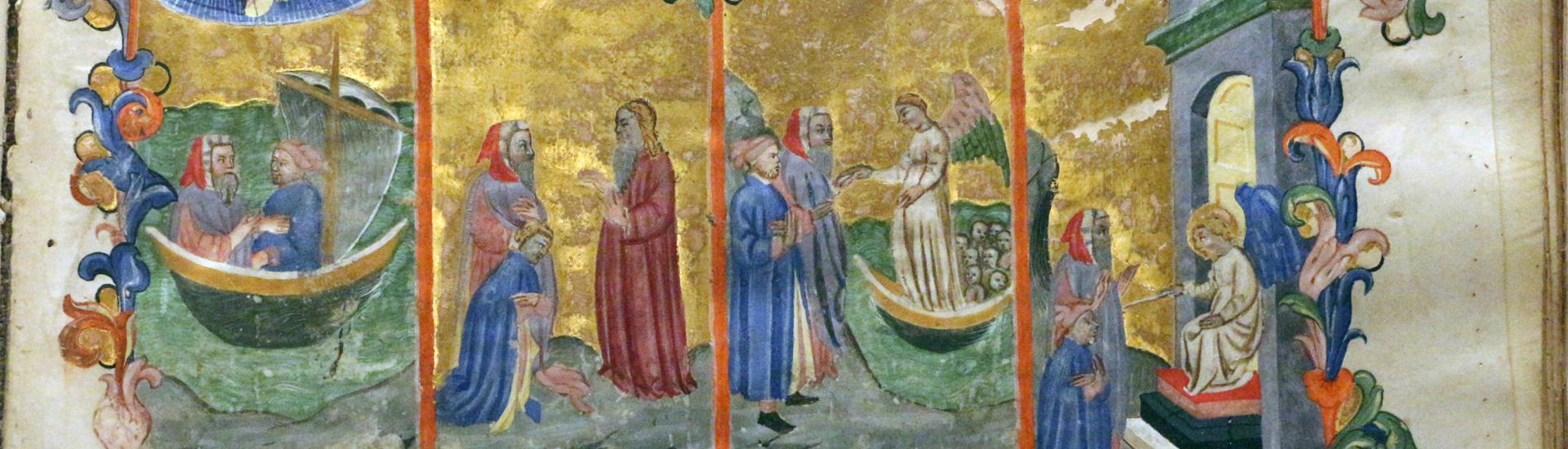 Firenze, commedia di dante, codice miniato da simone camaldolese e aiuti, purgatorio canto I, 1398, tempi 1, c. 32r, 02