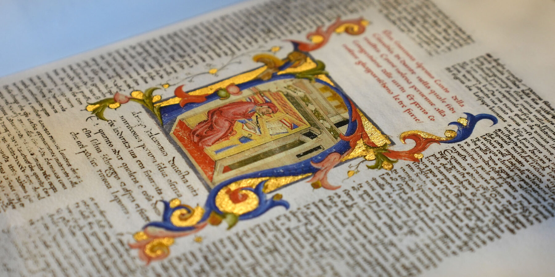 """A handmade illuminated anastatic copy of one of the oldest and most richly decorated Medieval examples of Dante's Divine Comedy """"Inferno"""" on display in Toronto."""